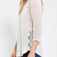 Urban Outfitters - Pins And Needles Crochet Side Pullover Knit Top