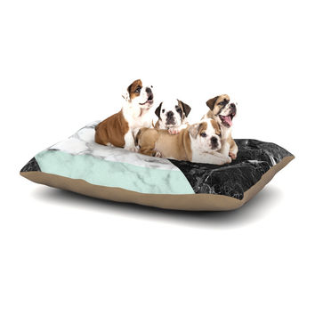 "KESS Original ""Geo Marble and Mint"" Black Art Deco Dog Bed"