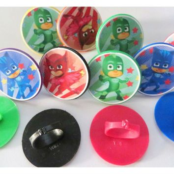 12 Pj Masks Rings cupcake toppers - birthday party favor pinata cake toys Cat...