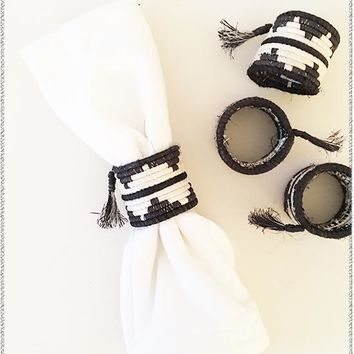Tasseled Black + White Napkin Rings | Set of 4