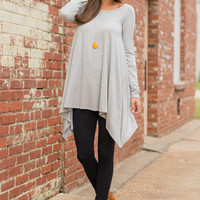 Chart Topping L/S Tunic, Heather Gray