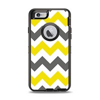 The Gray & Yellow Chevron Pattern Apple iPhone 6 Otterbox Defender Case Skin Set