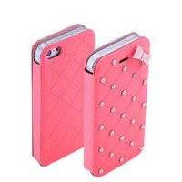 PASONOMI  Cute Style Bow Pearls Flip Leather Case for iPhone5 iPhone5s (Hot Pink)