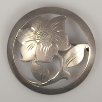 Vintage Handarbeit 835 Silver Floral Cut Out Brooch Germany