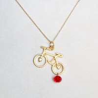 Bicycle Charm Necklace, Red Charm, 24k Gold Necklace