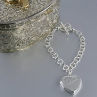 Sterling Silver Photo Heart Locket Bracelet, Family Bracelet