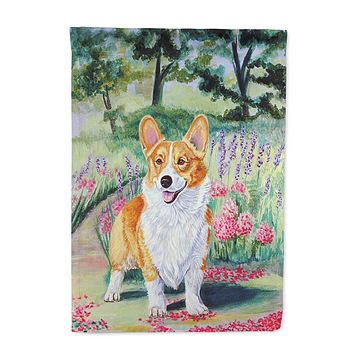 Corgi Springtime in the Garden Flag Garden Size