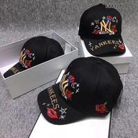NY Yankees Flower Embroidery Baseball Hat
