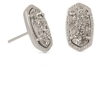 Kendra Scott: Ellie Silver Stud Earrings In Platinum Drusy