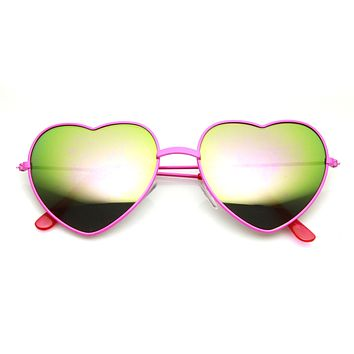 Women's Color Heart Shaped Metal Mirror Lens Sunglasses 9563