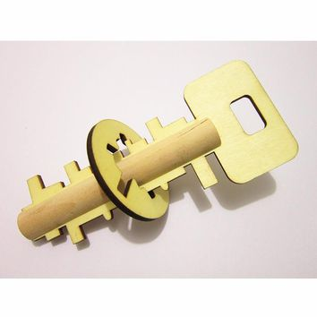 Wooden Toy Unlock Puzzle Key Children Pre-school Toy Funny Baby Intelligence Developing Toy Wooden Unlock Gifts Kong Ming Lock