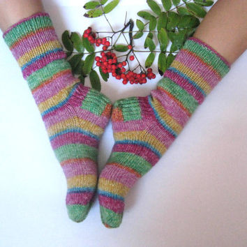 hand knitted women and men wool socks, Wonderful Christmas gift for anybody