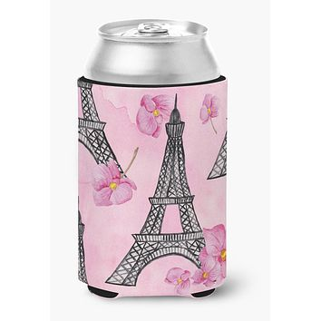 Watercolor Pink Flowers and Eiffel Tower Can or Bottle Hugger BB7511CC