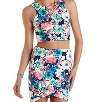 FLORAL CROP TOP & MINI SKIRT HOOK-UP