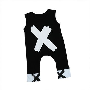 One Piece Cross Newborn Baby Boys Girls Cotton Cross Printed Romper Jumpsuit Playsuit Outfit Summer Sleeveless Kids Clothes