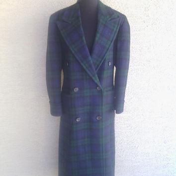 Ralph Lauren 1970's wool double-breasted women's coat. Green and blue plaid. Size 8 Ex