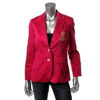 Ralph Lauren Womens Petites Metallic Monogram Two-Button Blazer