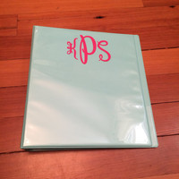 FREE SHIPPING! Binder Monogram Decal | Multiple sizes available! | Available in three fonts!