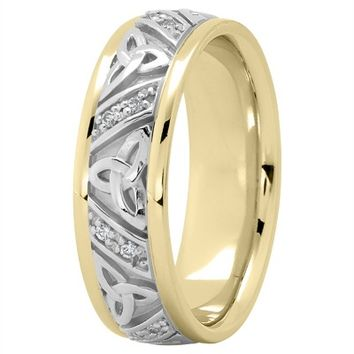 Wedding Band - 18K Two Tone Gold Celtic Knot Diamond Wedding Ring 7mm