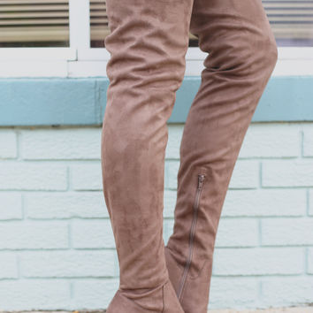 Elixir Over the Knee Boots - Taupe