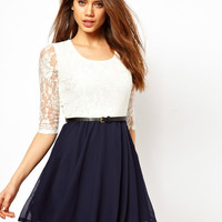 lovely lace bowknot montage dress