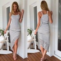Stylish Lady Women's Fashion Casual Strap Black And White Stripe Irregular Bodycon Slim Dress