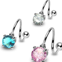 14g Round Cz Gem Twister Non Dangle Surgical Steel Belly Button Ring Navel Body Jewelry Piercing 14 Gauge