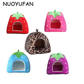 NUOYUFAN Soft Strawberry Pet Dog House Nest Cat Rabbit Bed House Sofas Kennel Doggy Warm Cushion Leopard Basket