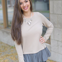 Fall For Me Top (Taupe ) - Piace Boutique