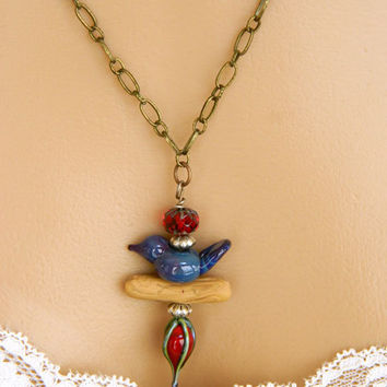 Blue Necklace, Red Lampwork Bead, Handmade Necklace, Long Necklace, Brass Chain, Bird Pendant, For Bird Lover, Artisan Made, Unique Necklace