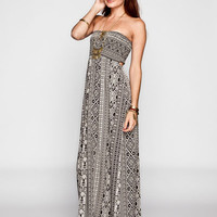 Full Tilt Ethnic Print Open Back Maxi Tube Dress Black/White  In Sizes