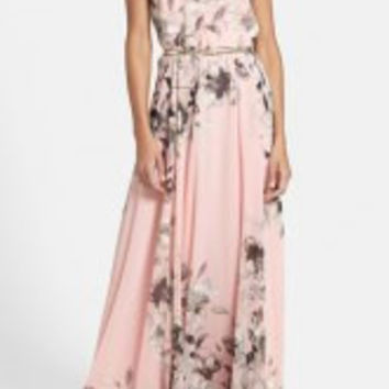 Pink Floral Printed Maxi Dress