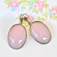 Vintage Pink Oval Glass Scalloped Antique Brass  Lever Back Drop Dangle Earrings - Bridesmaids, Wedding, Beach