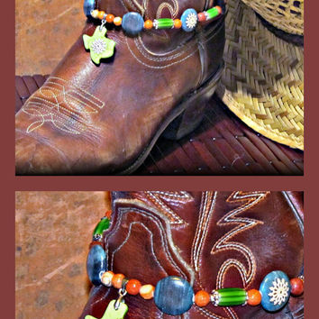 Spruce Up Your Boots! Texas Boot Bracelet w Grey Marble, Magnesite, Red Marble and Ceramic Beads ; Boot Jewelry, Western Wear