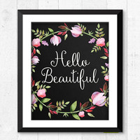 Hello Beautiful art print, watercolour flower art print, nursery art print, chalkboard flower poster, baby girl decor, nursery art, A-1054