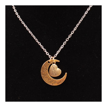 X329 love Valentine's Day love couple of European and American moon necklace ebay jewelry supply   GRANDPA GOLD