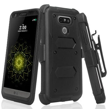 LG G6 Case, G6 Forge Cover, Triple Protection 3-1 w/ Built in Screen Protector Heavy Duty Holster Shell Combo Case - Black