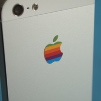 Retro vintage apple rainbow logo iPhone Decal sticker fits all sizes.