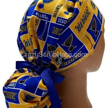 Women's Ponytail Surgical Scrub Hat Cap in St Louis Blues