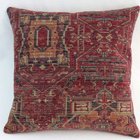 "Faded Red Tapestry Pillow, 17"" Sq Heavy Chenille, Vintage Look Kilim Carpet Style, Maroon Navy Gold, Cover Only or Insert Incl, Ready Ship"