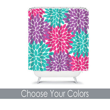 Shower Curtain Monogram CUSTOM Choose Colors Hot Pink Purple Turquoise Flower Burst Dahlia Pattern Bathroom Bath Polyester Made in the USA