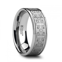 WENTWORTH Flat Grooved 8mm Tungsten Ring with Engraved Intricate Cross Pattern