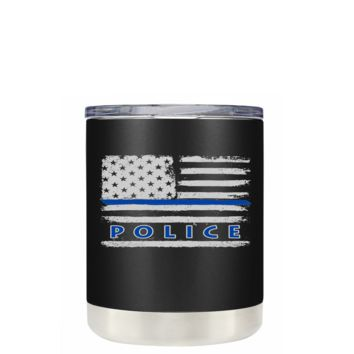 Faded Blue Line Police Flag on Black Matte 10 oz Lowball Stainless Steel Tumbler with Lid -  Police Officer Law Enforcement Gift
