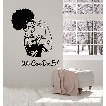 Vinyl Wall Decal Inscription We Can Do It Woman Strength Power Stickers Mural (g1852)