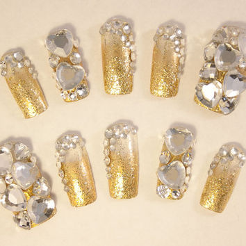 Wedding Bridal Nail Art - My Golden Day - 3D false fake press-on nail art - Japanese Nail Art
