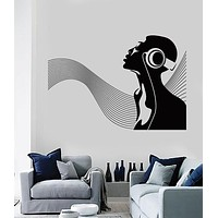 Large Vinyl Decal  African Woman Musical Wave Unique Gift Wall Sticker (n637)