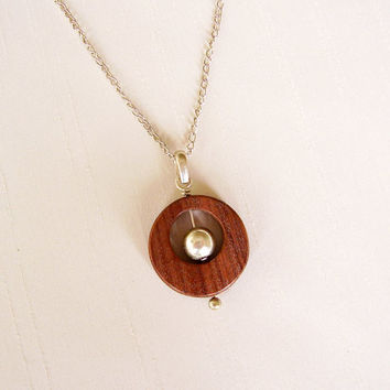 Sterling Silver and Jacaranda Wood Pendant - Circle Pendant with moving ball in the center - Simple Delicate Original Contemporary Pendant