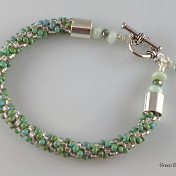 Green Kumihimo, Handmade Beaded Single Strand Bracelet, Swarovski Crystals,Aquamarine, Rhodium Toggle Clasp, Fire Polished Czech Glass, Gift