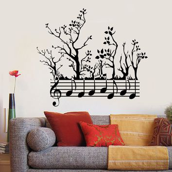 Vinyl Wall Decal Forest Tree Nature Notes Music Musician Branches Stickers Unique Gift (745ig)