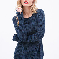 LOVE 21 Ribbed Cutout Sweater Teal/Navy
